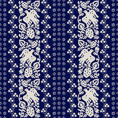 Traditional block printed ornament. Seamless floral pattern, handmade Russian folk motif with birds, vine, clover and blocks. Ecru on blue background Textile print.