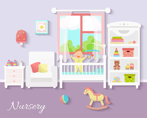 Baby room interior. Flat design. Newborn baby room with  shelf, toys, baby cot, armchair, bedside  table, chair and rug. Nursery room