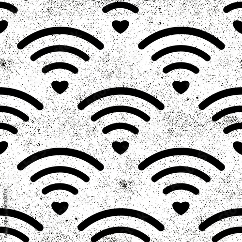 Wifi Icon Seamless Pattern Isolated On White Background Vector