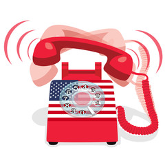 Ringing red stationary phone with rotary dial and flag of USA