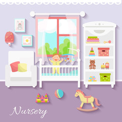 Baby room interior. Nursery room. Flat design.