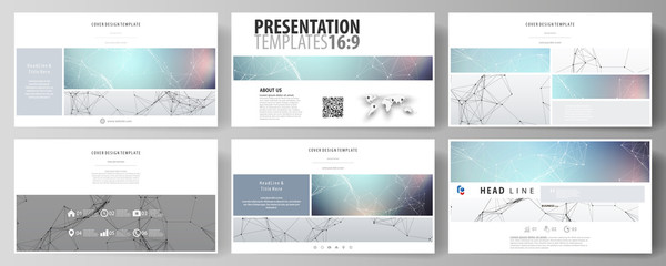 Business templates in HD format for presentation slides. Abstract vector layouts in flat design. Compounds lines and dots. Big data visualization in minimal style. Graphic communication background.