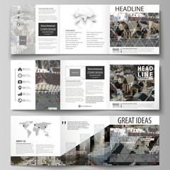 Business templates for tri fold square design brochures. Leaflet cover, abstract flat layout, easy editable vector. Colorful background made of dotted texture for travel business, urban cityscape.