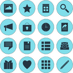 Vector Illustration Of 16 Online Icons. Editable Pack Of Grid, Magnifier, Date Time And Other Elements.