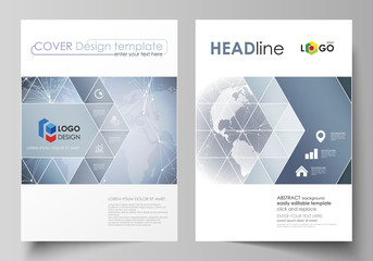 The vector illustration of the editable layout of two A4 format covers with triangles design templates for brochure, flyer, booklet. Abstract futuristic network shapes. High tech background.