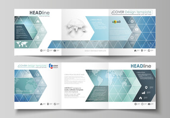 The minimalistic vector illustration of the editable layout. Two modern creative covers design templates for square brochure or flyer. Chemistry pattern, connecting lines and dots. Medical concept.