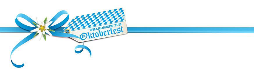 Willkommen zum Oktoberfest - Blaue Schleife mit Edelweiß, Rauten Etikett und Schriftzug