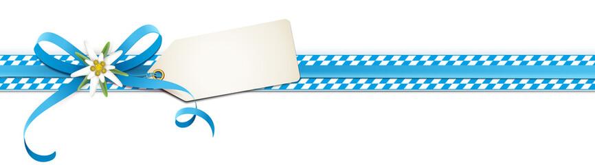 Oktoberfest - Blaue Schleife mit Edelweiß Blüte, Etikett und Rauten Band