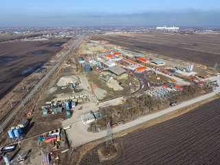 for road repair plant. The site with building materials for the