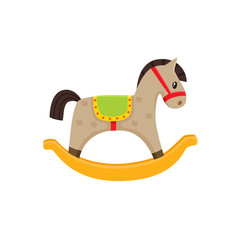 Vector rocking horse toy flat illustration. Wooden kid horse, pony toy colored isolated on a white background. Children education, growth and development concept. Colorful design object