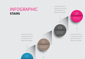 Folded Circles on Stairs Infographic Layout