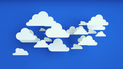White paper clouds over blue background