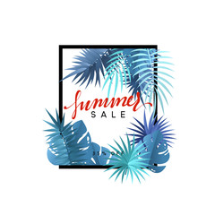 Summer design frame layout. Poster sale with palm branches. Banner with green tropical leaves.