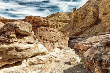 Red Canyon, giant cliffs in Israel - HDR with black gold filter