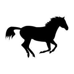 running horse. silhouette isolated on a white background. Logo horse