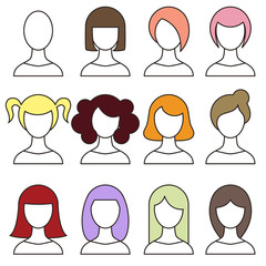 Women hairstyles set. Girl haircut avatar.  Vector