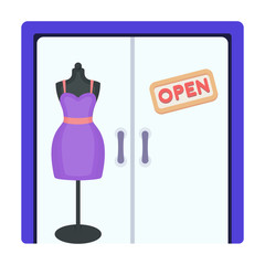 Women's clothing store. E-commerce single icon in cartoon style vector symbol stock illustration web.