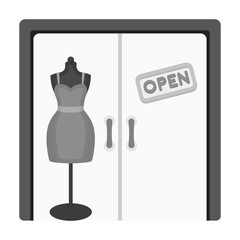 Women's clothing store. E-commerce single icon in monochrome style vector symbol stock illustration web.