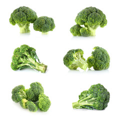Collage of fresh broccoli on white background