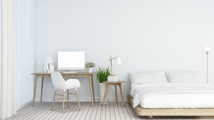 3D interior minimal rendering living space and wall decoration empty room in hotel