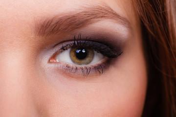 Close up of woman eyes make up.