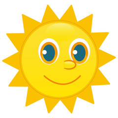 Sun character, happy face vector