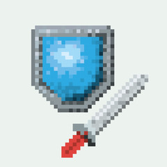 color pixelated set of shield and sword vector illustration