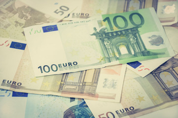 Money, Euro currency bills - vintage tone