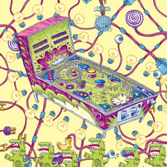 A cartoon of a pinball machine surrounded by tube wiring, lizards and lightbulbs.
