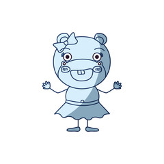 blue color shading silhouette caricature of excited expression female hippo in skirt with bow lace smiling vector illustration