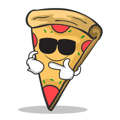 Super cool pizza character cartoon