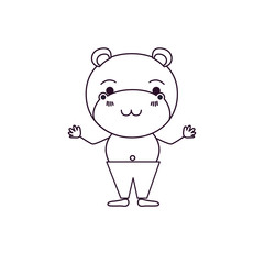 sketch silhouette caricature of cute hippopotamus tranquility expression in pants vector illustration