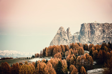 Vintage Autumn Landscape with Mountains