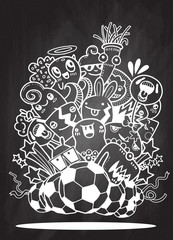 Hipster Hand drawn Crazy doodle Monster group,Vector Illustration of Funny people,Football, soccer match