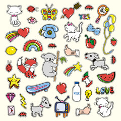 Stickers collections in pop art style isolated on yellow white background.