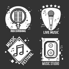 Music festival or shop labels vector headphones, microphone for recording studio