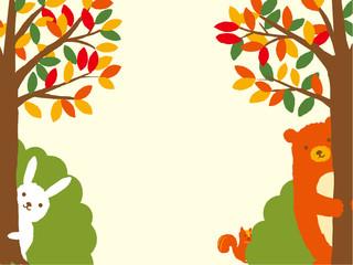秋イラスト 森の動物