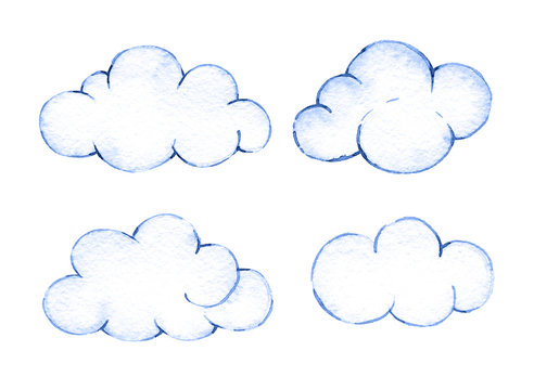 Watercolor clouds. Illustration for creating invitations, paper products, party decorations, printable, greetings cards, posters, stationery,  stickers, clothes