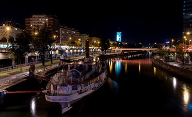 Vienna city center, Austria, colorful Schwedenplatz by night