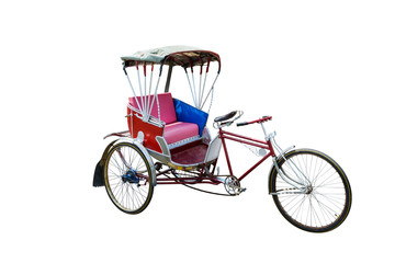 red color vintage oriental rickshaw cab, isolated on white background