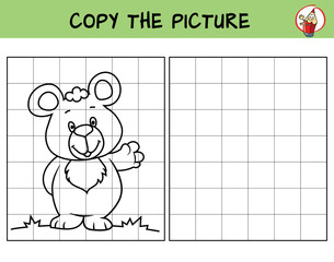 Cute little bear. Copy the picture. Coloring book. Educational game for children. Cartoon vector illustration