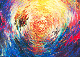 Abstract galaxy watercolor background. Colorful fantasy cosmic texture. Oil painting impressionism style.