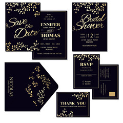 Set of Dark Blue Wedding Invitation Card with Gold Leaves Decoration.