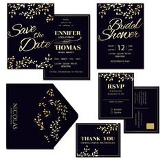 Set of Dark Blue Wedding Invitation Card with Gold Leaves Decoration.