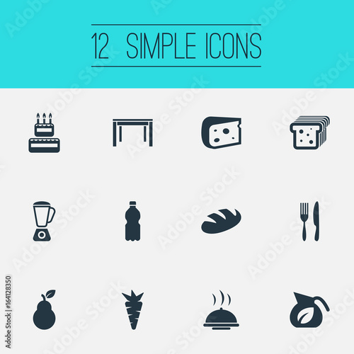 Vector Illustration Set Of Simple Cuisine Icons Elements Vase