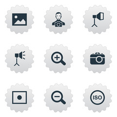 Vector Illustration Set Of Simple Photograph Icons. Elements Registration, Cameraperson, Luminous Origin And Other Synonyms Removal, Recording And Cameraperson.