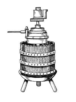 Mechanical wine press engraving vector