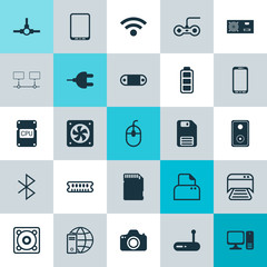 Hardware Icons Set. Collection Of Desktop Computer, File Scanner, Diskette And Other Elements. Also Includes Symbols Such As Camera, Phone, Audio.