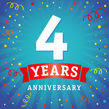 4 years anniversary logo celebration card. 4th years anniversary vector background with red ribbon and colored confetti on blue flash radial lines