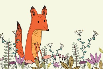 Fox among the flowers. Cute Fox.